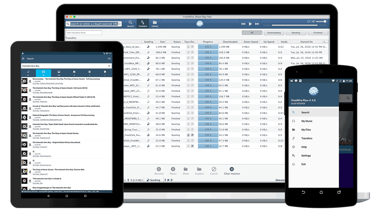 Click here to download FrostWire now, absolutely free