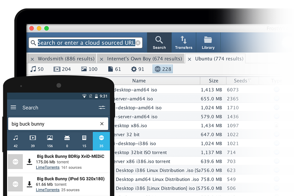 In-App Search for FrostWire for Desktop and Android