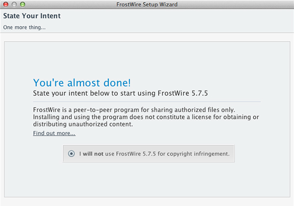 FrostWire for Desktop Intent screen