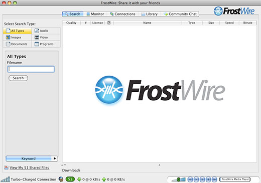 FrostWire freeware screenshot